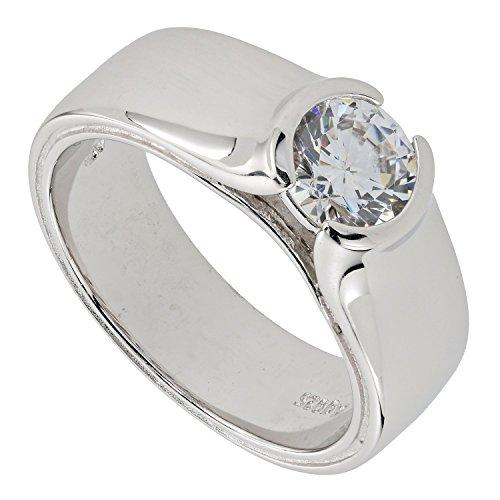 Judith Williams Touch of Diamonds Damen-Ring Sterling-Silber 925 rhodiniert Solitär Zirkonia weiß Brillantschliff RW16
