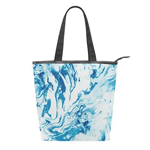 Bolso de Lona para Mujer, con Textura de mármol Azul, con Piedras Blancas, para Escuela, Libro, para Llevar al Hombro, para IR de Compras, a la Playa, Viajes, al Gimnasio, Uso Diario