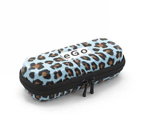 Zipper Etui Leopard blau small für e-Zigaretten eGo-T/eGo-C/eGo-W / 510/510-T von Hannets®