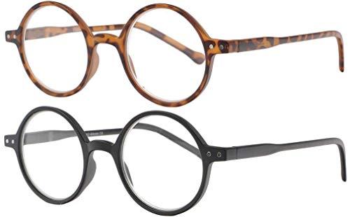 Lote de 2 gafas de lectura redondas vintage termoplásticas con bisagras de muelle Cerca Marrón negro Marrón y negro +1,5