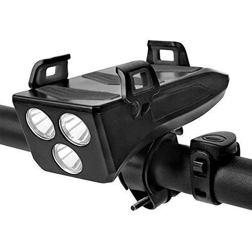 BUWEN LED Fahrradbeleuchtung,USB Fahrrad Licht Fahrradlichter mit Telefonhalter 3 Lichtmodi 5 Sounds Wasserdicht Frontlicht für Mountain Road Bike 4000mah (schwarz)