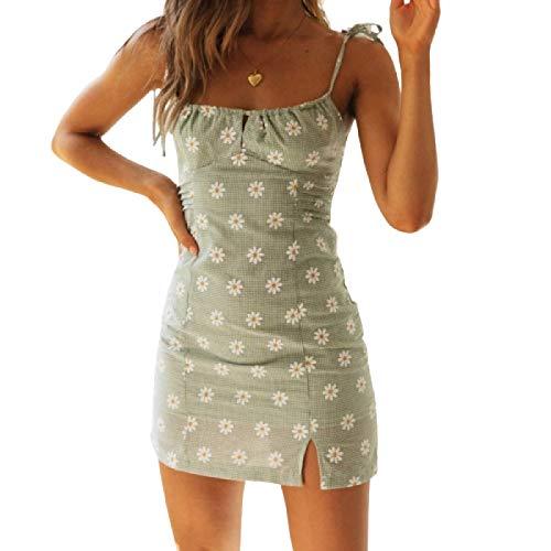 Frauenkleid Persönlichkeit Modedruck Hosenträger Split Kurzer Rock Sexy Open Back Spitzenkleid Medium