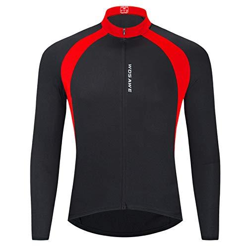 Lixada Langarm Radtrikot Elastisches atmungsaktives T-Shirt Trikot Funktionshemd Schnelltrocknendes Stoff-Radtrikot für Radfahren Laufen Fitness Rennrad