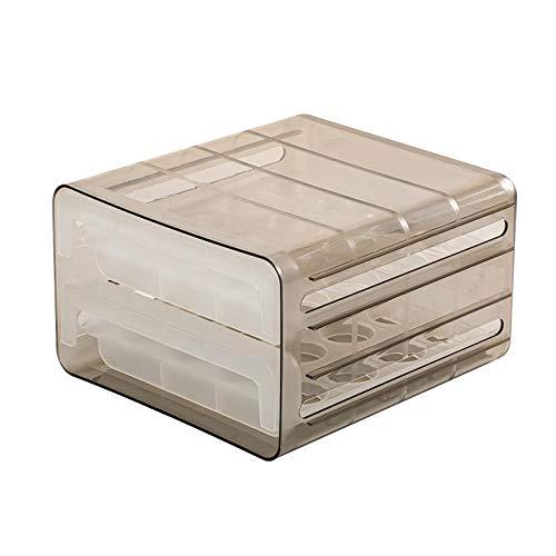 Not application Caja de almacenamiento de huevos apilable de doble capa con 32 rejillas para cajones y huevos transparente con rejillas de ventilación