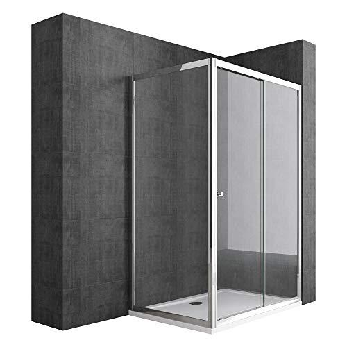 Duschabtrennung 75x130 Schiebetür Duschwand Für Eck-Montage Duschkabine aus 6mm ESG-Sicherheitsglas Seiteneinstieg Ravenna12