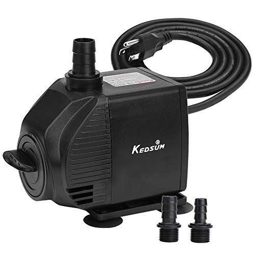 KEDSUM 580GPH Submersible Pump, 35W Ultra Quiet Water Pump with 6ft High Lift, Fountain Pump with 5 ft Power Cord, 3 Nozzles for Fish Tank, Pond, Aquarium, Statuary, Hydroponics