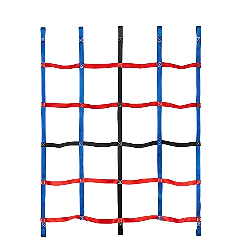 BPDD Climbing Cargo Net for Kids, Ninja Net Climbing Swingset Polyester Rope Ladder for Jungle Gyms Playground Ribbon Net Obstacle Course Training Climbing Net for Outdoor Treehous,1.45x1.85m