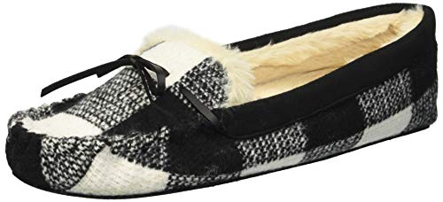 Dearfoams Damen Mixed Material Moccasin Slipper, Black Plaid, Medium