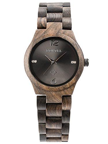 Alienwork Damen-Armbanduhr Quarz schwarz mit Holz-Armband Holzuhr Natur-Holz