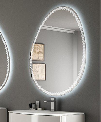 Miroir en fil brillant pour salle de bain, rétro-éclairage LED, design, 98 x 75 cm courbé