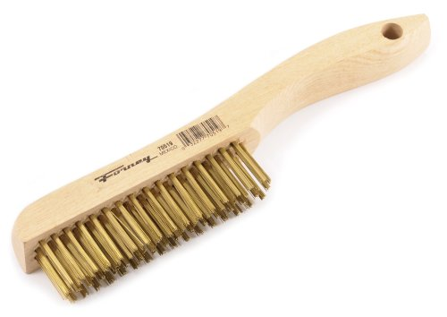 Forney 70519 Wire Scratch Brush, Brass with Wood Shoe Handle, 10-1/4-Inch-by-.012-Inch