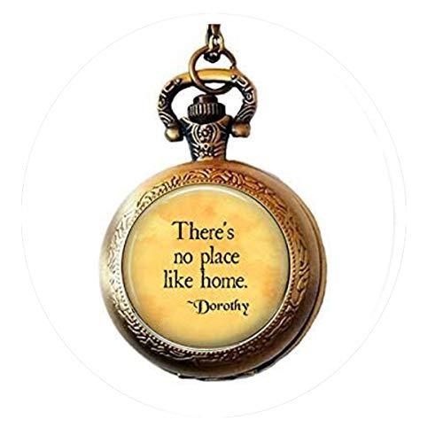 bab Here's No Place Like Home-Wizard of Oz Quote-Oz Jewelry-Dorothy Zitat - Ruby Slippers - Homesick Geschenk Taschenuhr Halskette Bibelzitat Anhänger religiöse Taschenuhr Halskette