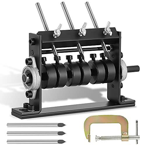 Mxmoonant Máquina peladora de cables con 3 cuchillos para Φ 1-30 mm, Cable de Cobre pelacables con manivela, conectable por taladro, con cierre de fijación tipo G y 3 cuchillas de repuesto