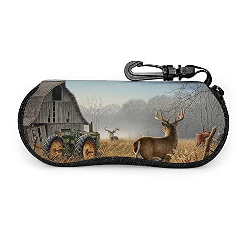 AOOEDM Hirsch Traktoren Sonnenbrille Soft Case Ultraleichtes Neopren Reißverschluss Brillenetui mit Gürtelclip