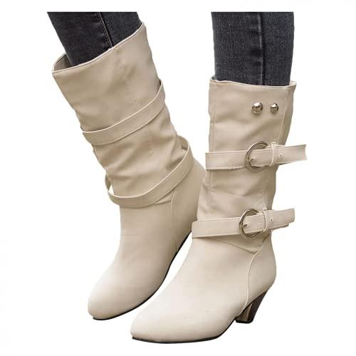 Bcshiye Botas de moda para mujer punta redonda gruesa tacón medio Western Cowboy Mid Pantorrilla Botas Hebilla Correa Botines de equitación