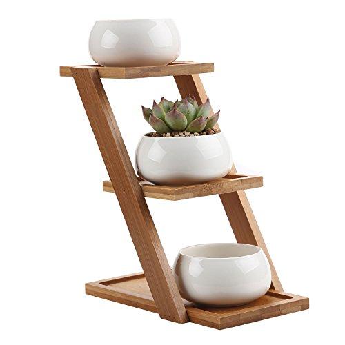 T4U 8CM ミニセット 天然竹製フラワースタンド(3段)+3個の陶器ミニ植木鉢