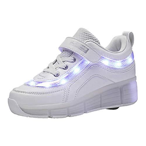 Viken Azer-UK USB wiederaufladbar Laufschuhe Sportschuhe Kinder Skateboard Schuhe Kinderschuhe mit Rollen LED Skate Schuhe Trainer Sneakers Rollen Schuhe für Junge Mädchen