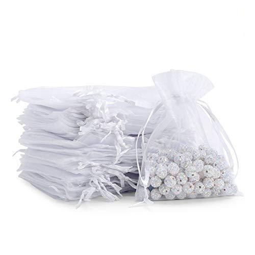 CCINEE オーガンジー巾着袋 50枚 ギフト 小物入れラッピング キャンディポーチ 10*15cm (ホワイト)