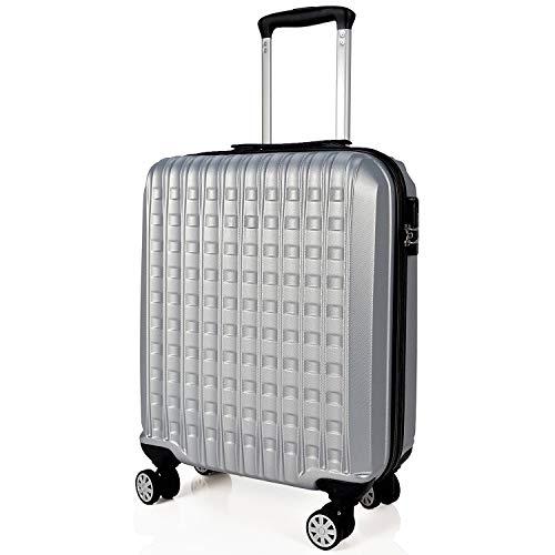 SIGN Wellsigned Reisekoffer Sondermaß Handgepäck, mit 4 laufruhigen 360° Doppelrollen (Silber, S)