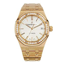 Gold Royal Oak Silvered Dial Ladies Watch
