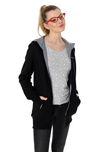 GoFuture Damen Tragejacke für Mama und Baby 4in1 Umstandsjacke Känguru Jacke aus Sweatstoff Verschiedene Modelle (XL, Schwarz mit marineweißen Streifen Malmö)