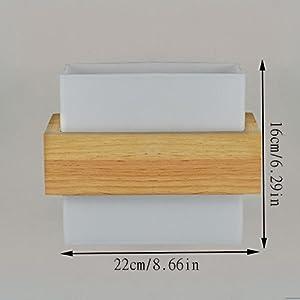 HJZY Moderno simple madera maciza aplique lámpara de pared con pantalla de cristal cálida personalidad dormitorio dormitorio sala de estar pasillo cabecera pasillo balcón roble sola cabeza pared luz