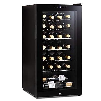 Subcold Viva28 LED – Under-Counter Wine Fridge Black | 3-18°C | 28 Bottle Capacity | 82L Wine Cooler | LED + Lock & Key | Glass Door Drinks Cellar | Single-Zone
