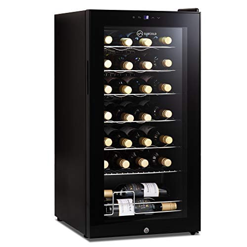 Subcold Viva28 LED – Under-Counter Wine Fridge Black | 3-18°C | Wine Cooler | LED + Lock & Key | Glass Door Drinks Cellar | Single-Zone (28 Bottle)