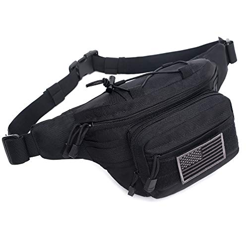 Tactical Waist Pack Military Waist Bag Fanny Pack Hip Bum Bag with Adjustable Strap for Camping Hiking Hunting (Black)