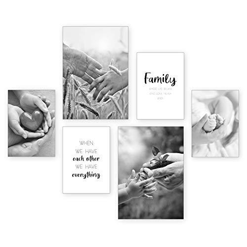 Poster-Set   Family   6 Bilder Deko Wohnzimmer Modern Schlafzimmer Bild für Ihre Wand - ohne Rahmen - 2 x DIN A3 & 4 x DIN A4 - ca. 30x40 & 20x30
