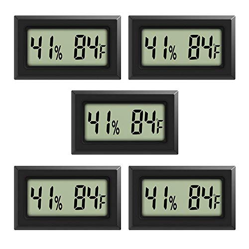 Rojuna 5-pack Mini Thermometer Hygrometer, Large Number Fahrenheit LCD Display Digital Temperature Humidity Meters Gauge Indoor for Humidors, Greenhouse, Garden, Cellar, Fridge