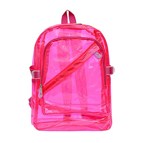 FENICAL Mochila transparente Bolso transparente con hombros descubiertos para mujeres Hombres Niños Niñas Mochila escolar Mochila Mochila Rosa