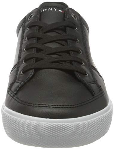 Tommy Hilfiger Core Corporate Leather Sneaker, Zapatillas Hombre, Negro, 44 EU