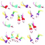 HEQUSigns 20 Pcs Furry Kitten Mice Cat Toys Mouse Rattle Mice Toy Cat Catcher Pet Toys with Feather Tails for Cats Fun Play
