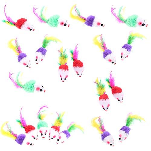 falllea 20 Stück pelzige Kätzchen Mäuse Katze Spielzeug Maus Rassel Mäuse Spielzeug Katze Catcher Haustier Spielzeug mit Federschwänzen für Katzen Spaß Spielen