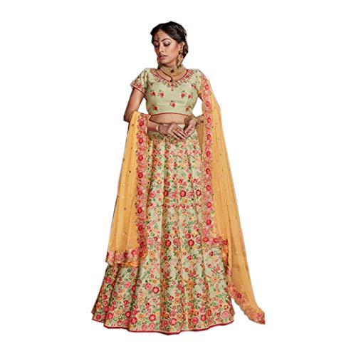Pista Green 9435 NK Blumendesign, indisch, ethnisch, Hochzeit, Lehenga, Choli, Dupatta, Damen, Ghagra, Kleid, Party, Roh, Seide, mehrfarbig