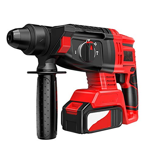 Multifunction Hammer Drill, Electric Hammer/Electric Drill/Electric Pick Three in One 4AH/6AH Lithium Ion Battery Anti-Shock Soft Grip with Carry Case,980tv,2 battery