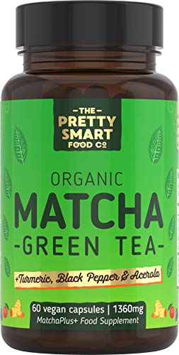 Green Tea Extract Capsules - Organic Matcha Green Tea Tablets - Boosted with Turmeric, Acerola Cherry & Black Pepper - 1360MG Complex - Green Tea Supplement - 60 Capsules - UK Made