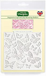 """Katy Sue Designs Butterfly 4"""" x 4"""" Design Mat Silicone Mold for Cake Decorating, Cupcakes, Sugarcraft, Candies, Clay, Crafts and Card Making, Food Safe"""