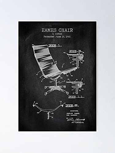 AZSTEEL Eames Chair Chalkboard Patent Poster Best Gift for Mothers Day
