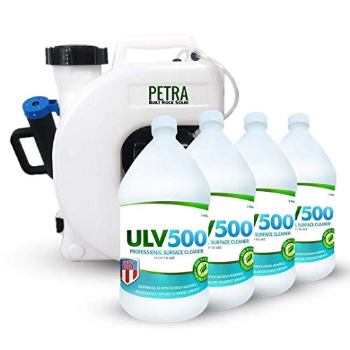 PetraTools Electric ULV Fogger Atomizer Backpack Sprayer - 4 Gallon Mist Blower and Hypochlorous Acid 500PPM (4-Gallons) Professional Surface Cleaner