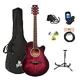 Winzz Guitarra Acústica para Principiantes Adultos y Estudiantes 40 Pulgadas,Rojo Guitarra Set con Cuerdas de Acero,Elegante Diseño de Color Único