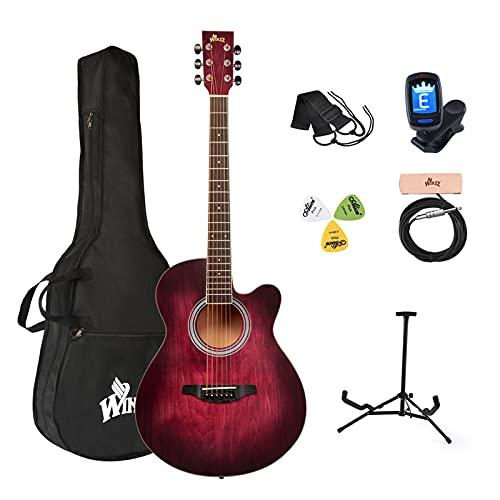 chitarra acustica winzz Winzz Chitarra acustica rossa