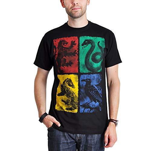 HARRY POTTER T-Shirt Poudlard Gryffondor Poufsouffle Serdaigle Serpentard Armes Noir - M