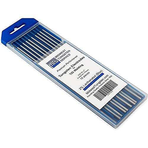 Qewrt 10 Uds Lantánido WL20 TIG electrodo de tungsteno 1,0 1,6 2,0 2,4 3,0 4,0 Accesorios de Soldadura de metalurgia Azul
