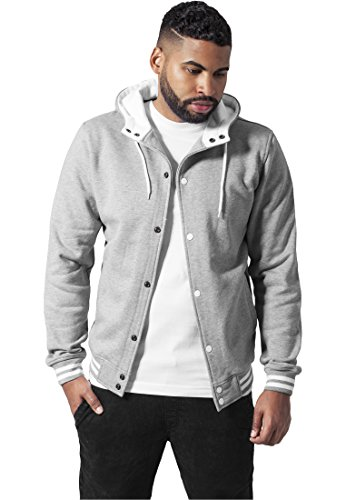 Urban Classics Hooded College Sweatjacket Veste de Sport Homme, Mehrfarbig (Gry/WHT 132), S