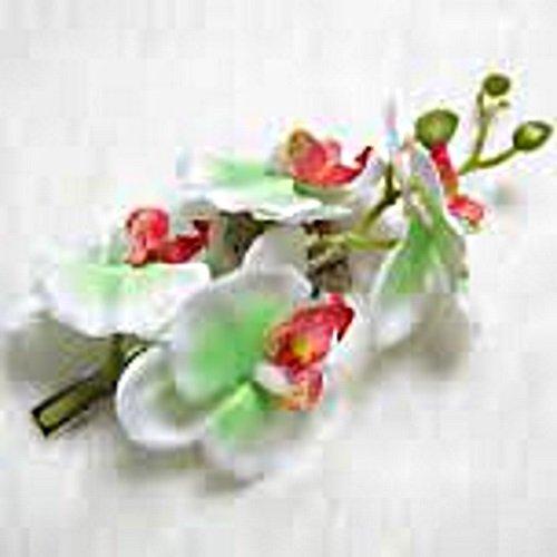 Fermaglio per capelli a forma di orchidea, grande lumen di colore bianco, verde