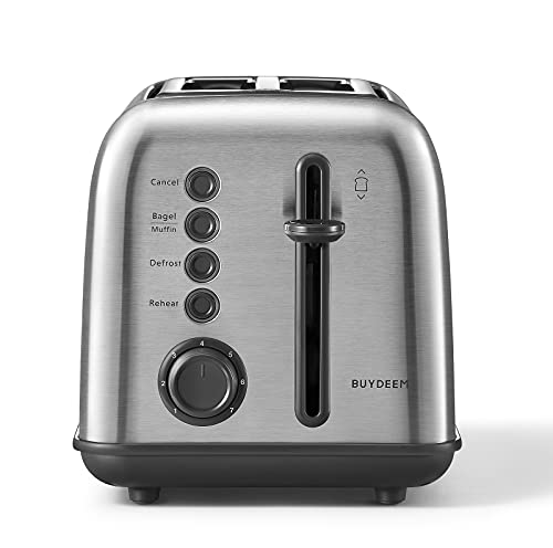 BUYDEEM DT620 2-Slice Toaster, Extra Wide Slots, Retro Stainless Steel with High Lift Lever, Bagel and Muffin Function, Removal Crumb Tray, 7-Shade Settings, Retro Stainless Steel
