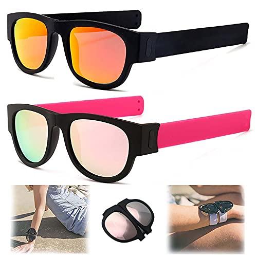 WBias&Belief 2 Paquetes Brazalete Plegable Gafas De Sol,Gafas De Sol Polarizadas Aqua Silver,Gafas de Sol Deportivas para Montar,Gafas Oscuras De Muñeca,Gafas De Sol para Hombres Y Mujeres,C