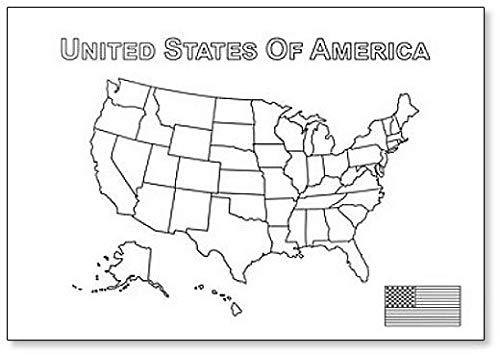 USA Kaart en Amerikaanse vlag zwart en wit Illustratie Koelkast magneet